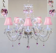 crystal chandelier with pink shades and pink crystal hearts h25 x w24 com