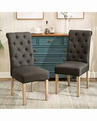 fabric parson dining chairs beautiful deal alert habit solid wood tufted parsons dining chair set of