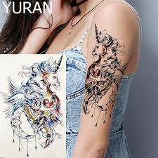 Watercolour Large Flying Unicorn Tattoos Temporary Black Moon Fairy Princess Women Arm Tattoos Stickers Feather Girl Art Tatoos