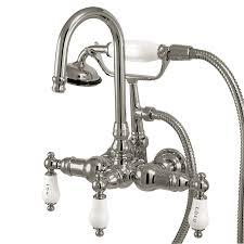 kingston brass vintage chrome 3 handle fixed deck mount bathtub faucet
