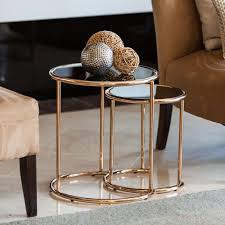 danya b rose gold metal frame and black glass top nested round end tables