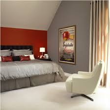 gray and red bedroom. danny and i are going to do a red accent wall like this! maybe lighter gray. gray bedroom w