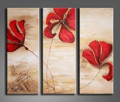 3 panel canvas wall art ideas red flowers printed art brown background hang on grey wall on wall art canvas ideas with wall art top 10 collection canvas wall art ideas pinterest canvas