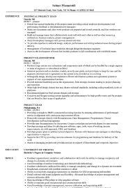 Project Lead Resume Samples Velvet Jobs
