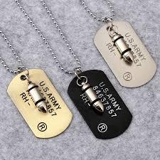 army bullet dog tag pendant necklace women men