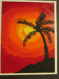 3rd grade palm tree silhouette painting on canvas board 9 x 12