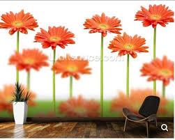 Custom Natuurlijke Landschap Behang Oranje Madeliefjes Bloem