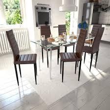 Ensemble 1 Table 6pcs Chaises Moderne En Verre Trempé Et En Cuir