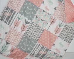 Baby girl quilt | Etsy & baby quilt-baby girl quilt- woodland baby quilt- baby girl bedding-- Adamdwight.com