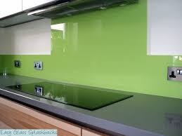 Splashback For White Kitchens Lime Green Coloured Glass Splashback In A White Kitchen With Dark