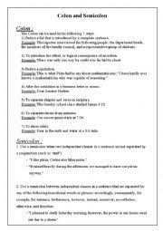 Semicolons And Colons Worksheets Colon And Semicolon Worksheets