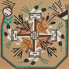 an artwork based on navajo sand painting we purchase this at a roadside stand somewhere between the south and north rims of the grand canyon in i say