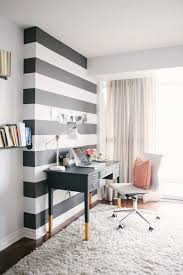 White airy home office Blue Gray And White Accent Wall Is Definitely Chic And Stylish In This Corner Home Office With Shaggy Rug On The Floor This Small Desk Is Cool With Reverse Pinterest The Chic Stylish Home Office Artisan Crafted Iron Furnishings