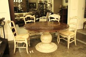 dining tables 54 inch round dining table country wood and painted pedestal base for kitchen