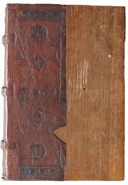 15th century german half leather and wood board binding