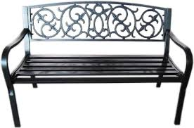 black metal garden bench seat outdoor seating with