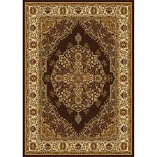 home dynamix royalty brown and ivory rectangular indoor woven area rug common 5 x