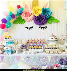 unicorn theme party sets birthday party decorations artificial rose flowers banner cake topper foil balloons supply