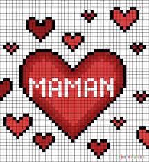 Coloriage kawaii 365 licorne consultation stss. Pixel Art Coeurs Pour Maman Par Tete A Modeler