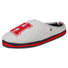 Mens Slippers With Lights Tommy Hilfiger Th Badge Homeslipper Mens Slippers Light Grey