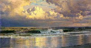beach at atlantic city william trost richards oil painting