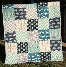 84 best Quilts images on Pinterest   Modern, An elephant and Backpacks & Organic Baby Boy Quilt, Blue Teal Grey Gray, Birch Fabric, Elk Deer  Woodlands Forest, Modern Blanket, Chevron Bear Bunting Adamdwight.com