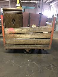 home storage carts vintage wooden factory cart w wheels