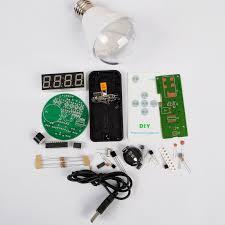 diy memory 5 way alarm clock kit lamp bulb shape led time screen display electronic