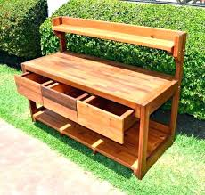 outdoor potting bench interesting with storage table sink cabinet diy ca