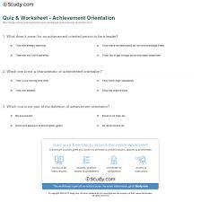 quiz worksheet achievement orientation study com print achievement orientation definition example worksheet