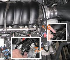peak speed shop intake removal instructions c on the left side under the map sensor connection on the throat of the intake manifold is a hose 7b that can be pulled off