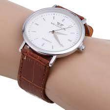 fashion men meishion thin simple leather band quartz wrist watch brown tmart