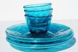 hand blown glass plates vintage glass plates bowls hand blown aqua blue glassware dishes hand blown hand blown glass plates quick view art