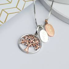 tree of life necklace with choice of rose gold or silver engraved disc