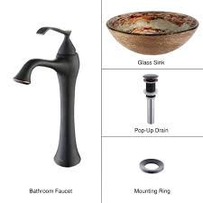 kraus ares glass vessel sink in gold with ventus faucet in oil rubbed bronze