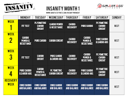 insanity workout schedule month 1