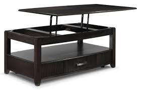 amazing dark finished lift top coffee table with storage drawer