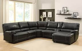 Home Elegance 9608 5 pc cale collection black bonded leather match  upholstered reclining sectional sofa set with chaise