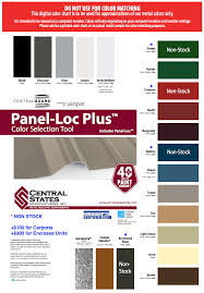 Central States Metal Roofing Color Chart Metal Building Color Chart Coloringssite Co