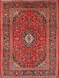 8 2 x 10 9 hand knotted semi antique red navy persian kashan oriental area rug 12980451