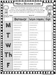 Weekly Behavior Chart Editable Free