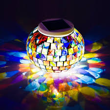 Solar Powered Mosaic Glass Ball Garden Lights Dream Wings Color Changing Solar Night Lights Waterproof Rechargeable Solar Table Desk Lights Lamp For
