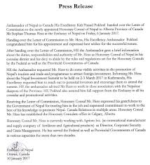 press release issued by the emby of nepal ottawa