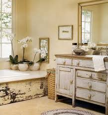 shabby chic bathroom bathroom. Worn Shabby Chic Bathroom Vanity With A Natural Wood Counter