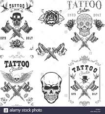 Set Of Tattoo Studio Emblems Design Elements For Logo Label