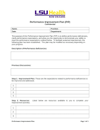 Improvement Plans Templates Performance Improvement Plan Form Format Image Template Academic