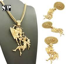 hip hop gold pt saint michael archangel pendant 6mm 24 cuban chain necklace