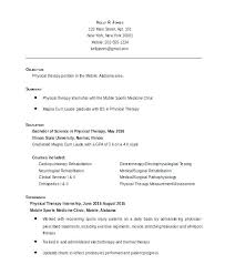 Resume Templates For Entry Level Sample Physical Therapy Resume Physical Therapy Information Physical