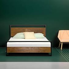 Amazon.com: Zinus Suzanne Metal and Wood Platform Bed with Headboard ...