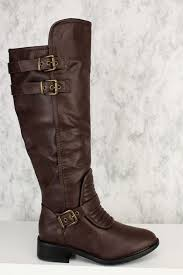 Buckle Quilted Detail Knee Length Riding Boots Faux Leather & Brown Buckle Quilted Detail Knee Length Riding Boots Faux Leather Adamdwight.com